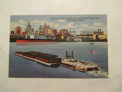 Federal Barge line and Skyline  New Orleans Louisiana LA Postcard