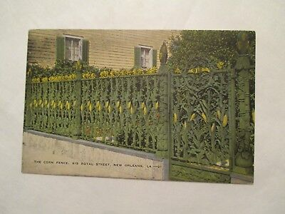 The Corn fence Royal Street fence view 3 New Orleans Louisiana LA Postcard
