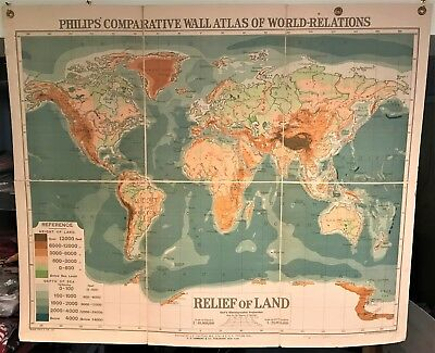 Original 1921 Philips' Comparative Wall Atlas Map World Relations Canvas Back