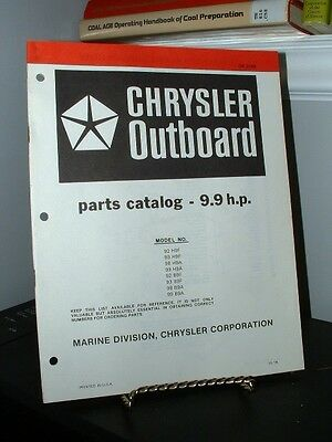 1978 Chrysler Outboard 9.9 HP Parts Catalog OB3189 Very Good - 28 Pages
