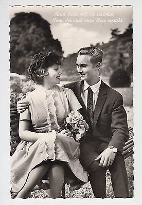 Vintage 1950s/60s B&W Photo Pc Young Man & Lady Love Couple Passionate Look #5
