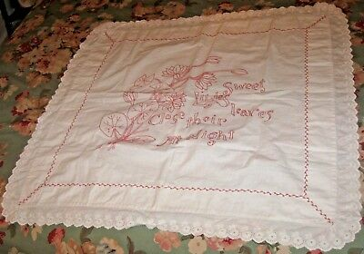 Vintage Embroidered White Tablecloth Sweet Liles Close Their Leaves At Night
