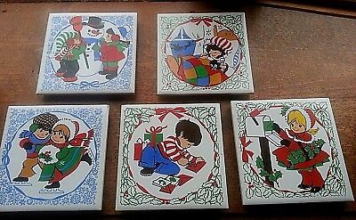 Lot 5 vintage Christmas Tile Trivets ceramic Jasco Girl Boy CHRISTMAS&box Sweet!