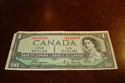 DEVIL'S FACE - 1954 - Canada $1 bill - Canadian one dollar note - FA4149594