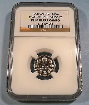 1998 10c CANADA SILVER DIME NGC PF 69 ULTRA CAMEO PROOF 90th ANNIVERSARY RCM
