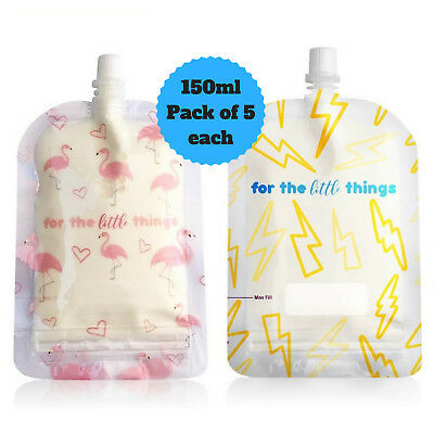 Sinchies 150ml Lightning Bolts & Flamingos Reusable Food Pouches Top Spout 10pcs