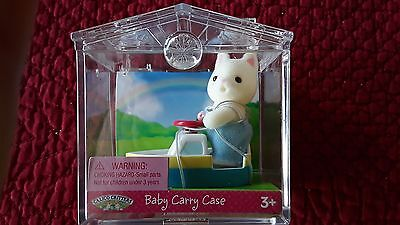 NEW Calico Critters Baby Kitty Cat Carry Case with Boat VHTF Doll House