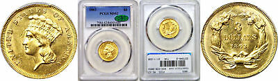 1863 $3 Gold Coin PCGS MS-62