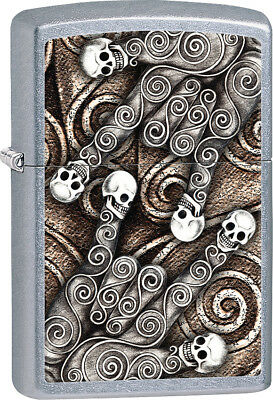 Zippo 28869 Skull Scroll Sign Language Hand Image on Street Chrome Lighter
