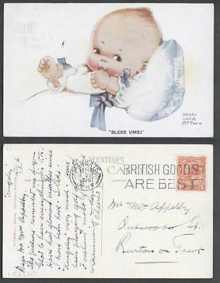 MABEL LUCIE ATTWELL 1926 Old Postcard Children Bless Ums Baby Sucking Thumb 1091