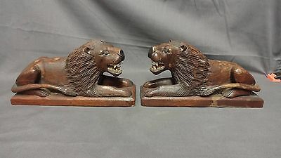 Vintage Wooden Hand Carved Pair Of Recumbent Lions Figures