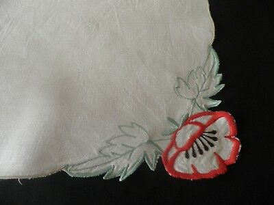 "VINTAGE EMBROIDERED LINEN TABLE CLOTH  32"" by 32"" - POPPIES"