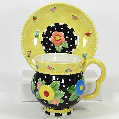 Mary Engelbreit TEA BLOSSOMS 7oz Cup & Saucer Set Black Yellow Floral Print 2001
