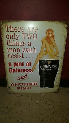 (L@@k) Guinness Beer Sexy Girl On Pint Glass Tin Sign  Man Cave Game Room Bar