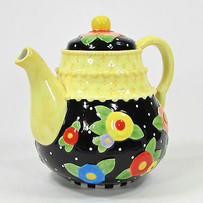 "Mary Engelbreit TEA BLOSSOMS 7.5"" Teapot Black Yellow Floral Print ME Ink 2001"