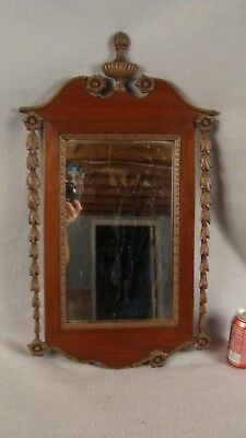 Antique 1890 Federal Carved Gilded Mahogany Wall Mirror W/ Urn