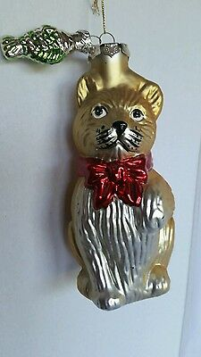 """Christmas 6"""" Tall Ornament Yellow TABBY CAT With Green FISH"""