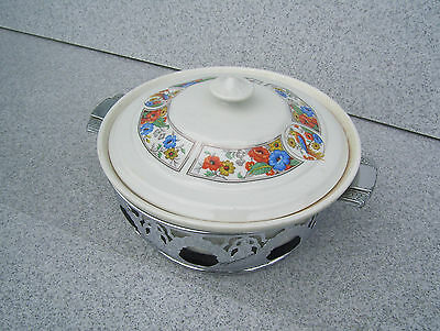 Nice Hall China Forman Bros Covered Casserole & Caddy / Prompt Safe Ship