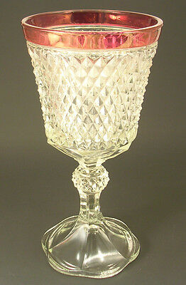 Indiana Glass Diamond Point Ruby Stain Footed Chalice Urn Gorgeous