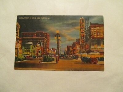 Canal Street at Night New Orleans Louisiana LA Postcard