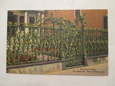 The Corn fence Royal Street fence view 2 New Orleans Louisiana LA Postcard