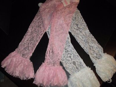 Lace Ruffled Leggings by Mud Pie, White and Light Pink, Set of 2, Size 5T, NWT