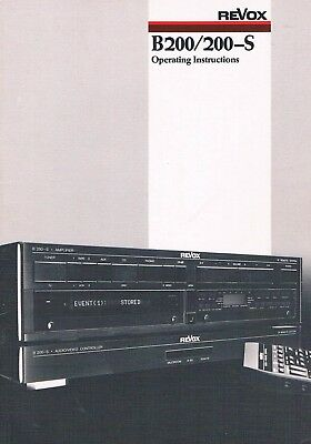 Revox B200 200-S  Bedienungsanleitung Manual Instructions Handleiding