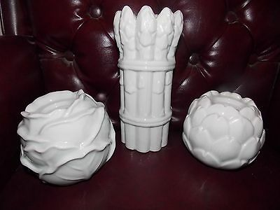 3 Vintage White Ceramic Asparagus cabbage artichoke Cancle holders Made in Japan