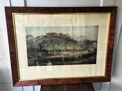 Antique Hand Colored Hunting Engraving GOING TO THE MEET SLAWSTON -GD Giles