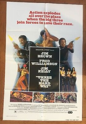 Three The Hard Way US 1 Sheet Original Movie Poster Authentic 1974 Soul Vintage