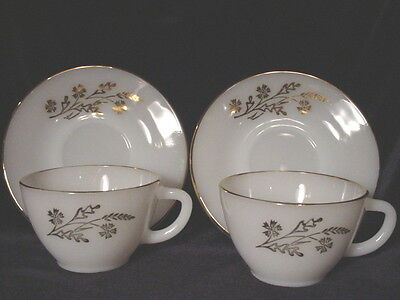 2 Lovely Sets of Vintage Federal Glass Meadow Gold Cups & Saucers  - NR