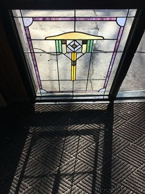 "Antique Chicago Bungalow Style Stained Leaded Glass Window 34"" by 28"""