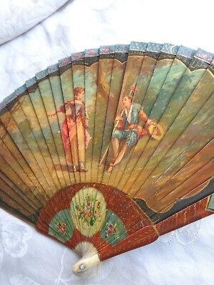 ANTIQUE 19thC FRENCH VERNIS MARTIN BONE COURTIN COUPLE SCENERY HAND PAINTED FAN