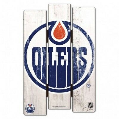 NHL Eishockey Edmonton Oilers Wood Sign Holzschild Holz Fence