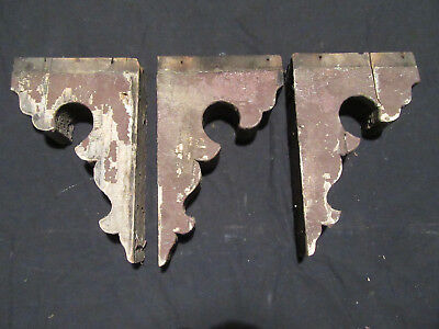 ~ Nice Lot Of 3 Matching Corbels ~ 13.5 Inches Tall ~ Architectural Salvage