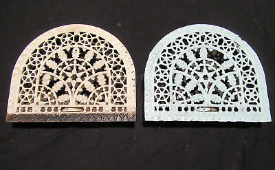 ~ Pair Arched Cast Iron Registers Vent Grates Roses ~ Architectural Salvage
