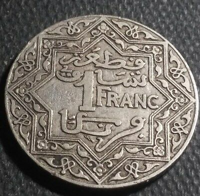 """1924 Morocco One 1 Franc """"Empire Cherifien"""" French,Coin  Free shipping"""