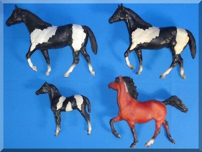 Vintage & Contemporary Breyer Model Horse Lot - 4 Horses Black White Cream Brown