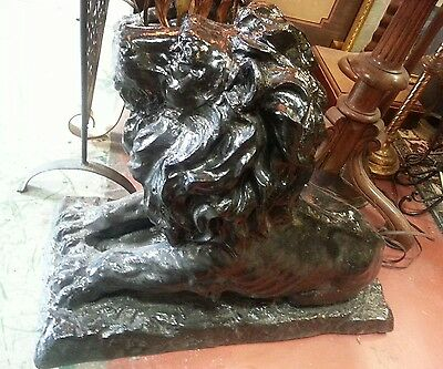 large pair CAST IRON LIONS antique