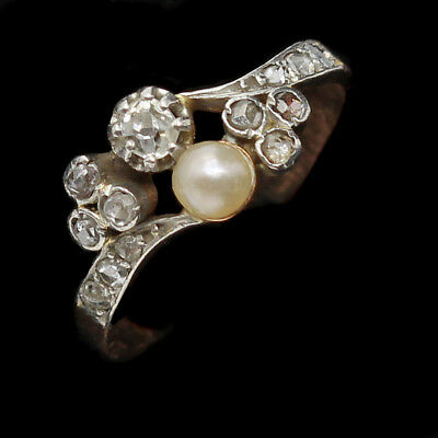 Antique Art Nouveau Ring Diamonds Pearl 18k Gold Small Late Victorian (#6333)