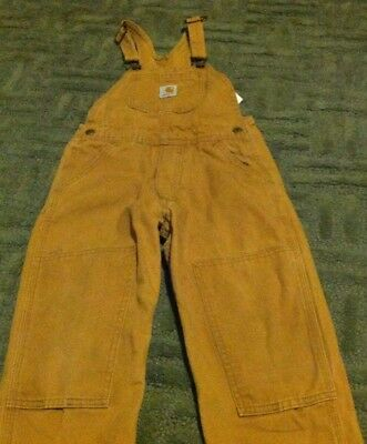 Boys Size 5 CARHARTT Brown/Mustard Suspender Bib Overalls Canvas Cotton FLAW