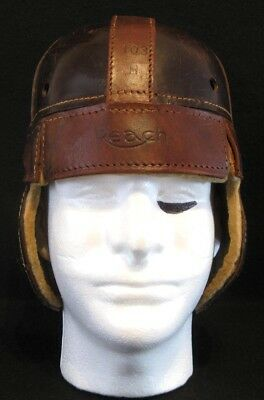 Old Antique Late 1920's REACH Model H103 Leather Football Helmet Vintage & STAND