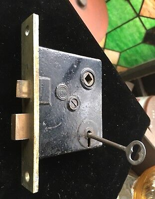 "Antique Vtg ""PENN"" Side Of Door Mortise Lock W BRASS FACE & Bolts & Skeleton Key"