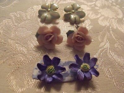 Charming Group Of Porcelian Flower Vintage Clip Earrings