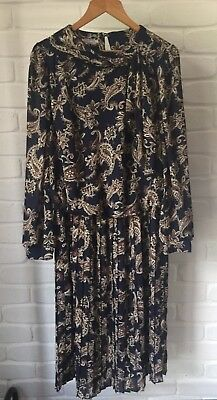 Vintage Retro 80's Paisley Dress Drop Waist Long Sleeve By Tosol Approx Size M-L