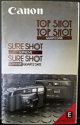 Vintage 1986 Canon Top Shot Sure Shot Camera Manual Instructions Photography