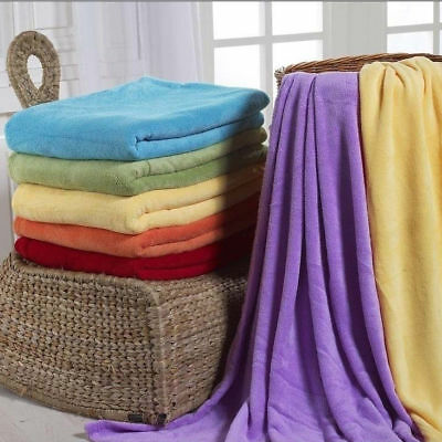 Soft Solid Warm Micro Plush Flannel Fleece Blanket Cover Throw Rug Sofa Bedding