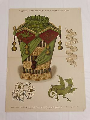 ANTIQUE 1890 FANCY PATTERN DESIGN for Embroidered Wicker Jardinere Basket