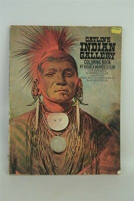 Vintage 1972 Catlin's Indian Gallery Coloring Book, Complete Uncolored Fair Cond
