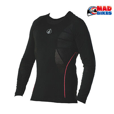 Carbon Energized L / Sleeve Compression Motorcycle Base Layer Under Shirt Black